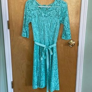 Dresses & Skirts - Tea length aqua lace dress